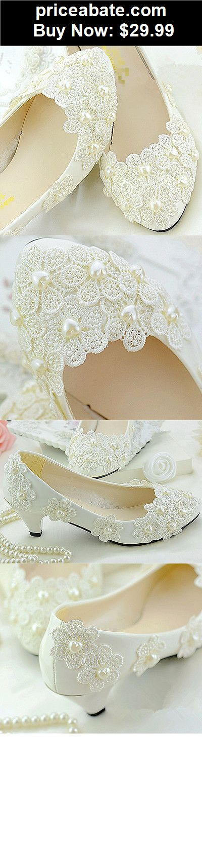 Wedding-Shoes-And-Bridal-Shoes: Lace pearl Wedding shoes Bridal flats low high heels pumps Bridesmaid size 5-12 - BUY IT NOW ONLY $29.99