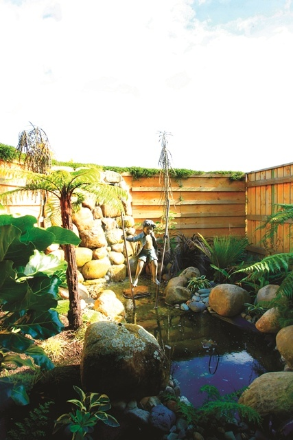 The owner's talent for landscaped design is on display in this private garden that adjoins the en suite.