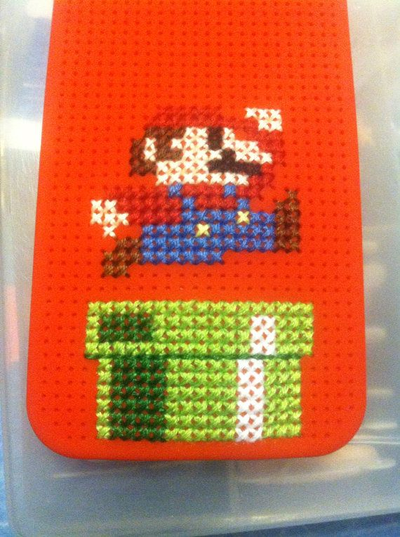 Cross stitch Iphone 5 retro Mario case on Etsy, $11.47 AUD