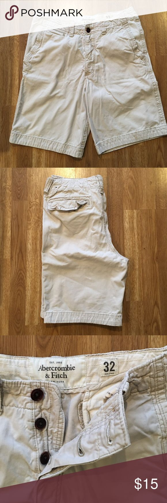 Abercrombie & Fitch Men's Shorts These shorts are in great condition! They are from Abercrombie & Fitch and size 32 waist. They are a light khaki color. They have a button-fly. Abercrombie & Fitch Shorts Flat Front