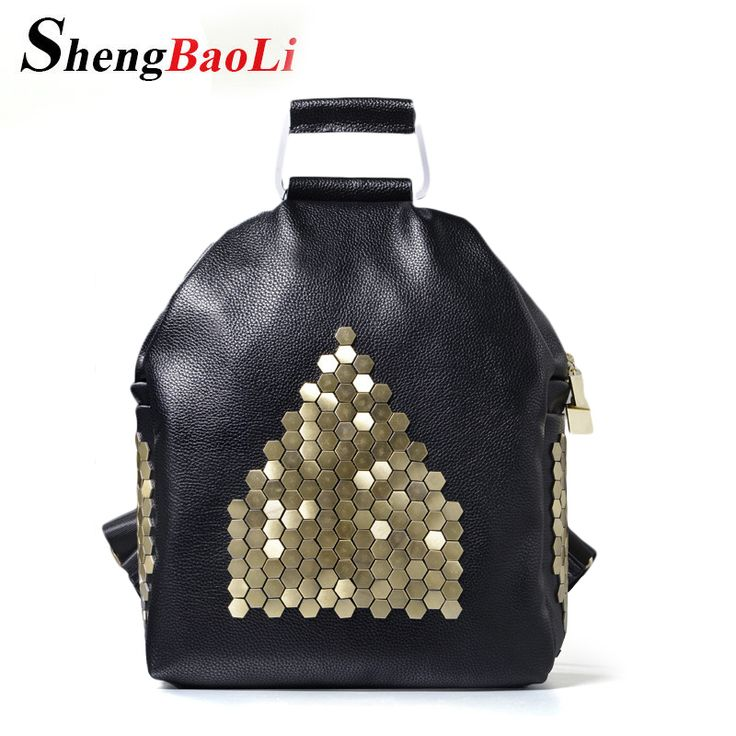 2017 Fashion Women Backpacks Rivet Black Soft Washed Leather Bag Schoolbags For Girls Female Leisure Bag mochilas Free Shipping