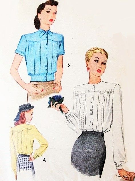 STYLISH 1940s Blouse Pattern McCALL 6095 Lovely Pin Tuck Details Tuck in Blouse or Overblouse Bust 34 Vintage Sewing Pattern