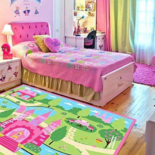 HUAHOO Pink Girls Bedroom Rugs Cartoon Castle Kids Rug Bedroom Floor Rugs  Nylon Cartoon Kids Living