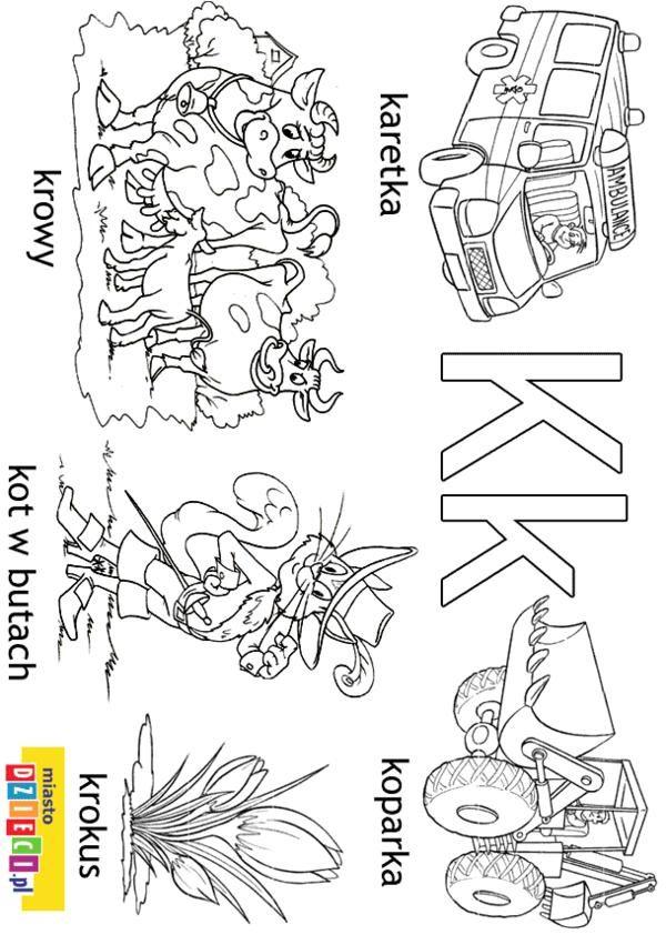 Alfabet - litera K - kolorowanki, malowanki dla dzieci do druku - kolorowanka dla dzieci