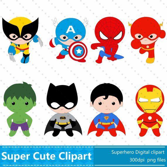 Superhero Clipart Superhero Clip Art Superhero Party Etsy Imprimibles Superheroes Dibujos Para Ninos Fiesta De Cumpleanos Del Superheroe