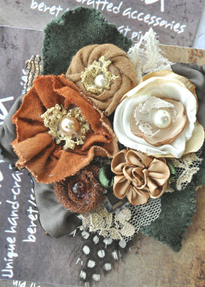 autumn bouquet wedding cream tan brown rose dress hat pin flower brooch pearl L