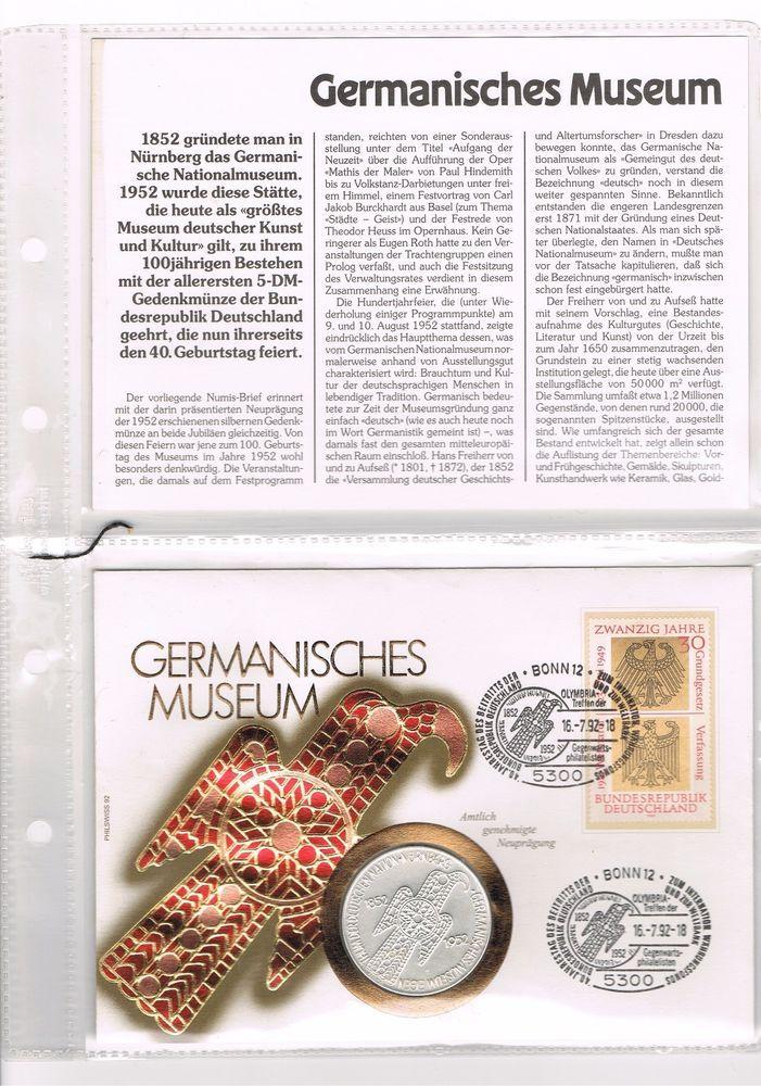 1 UNZE 999 SILBER-5 DM MARK Germanisches Museum 1952-SILBERMÜNZE Numisbrief  Top
