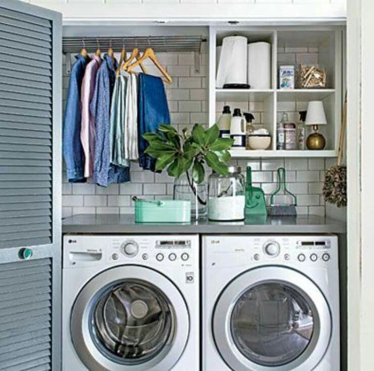 Great Laundry Set Up For Small Space Interiors