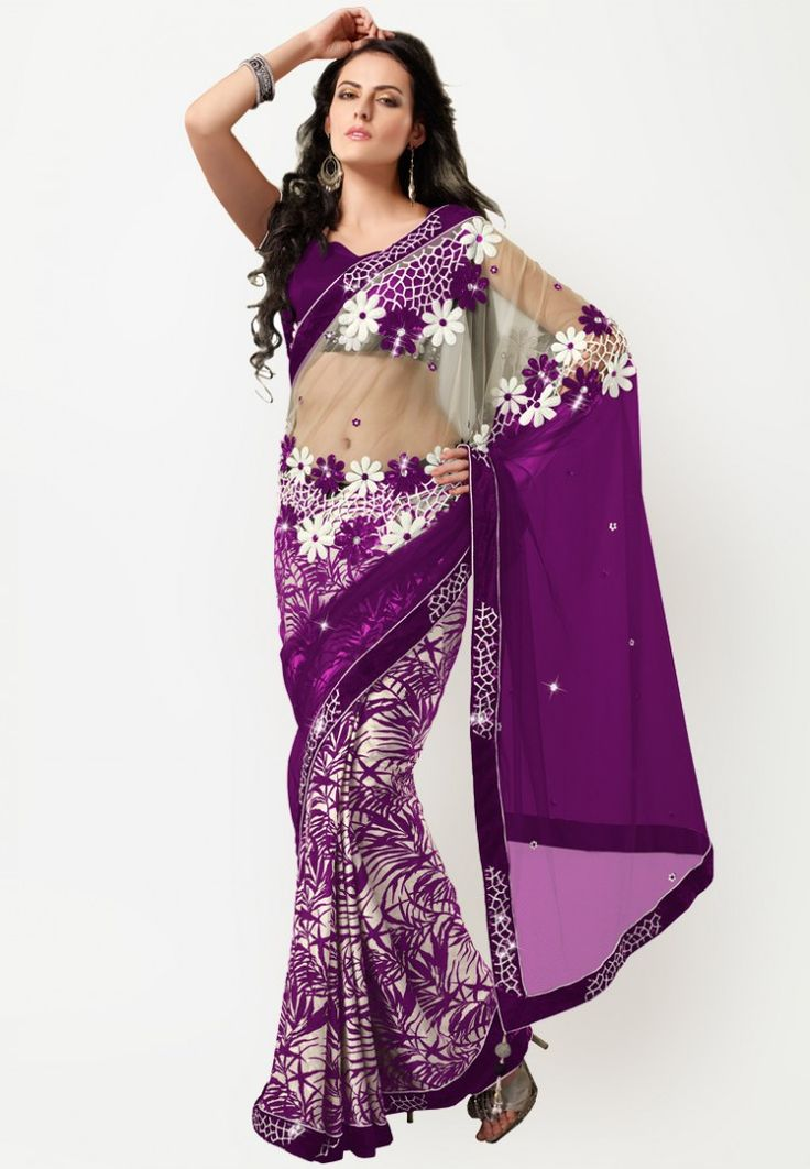 Embellished Purple Saree at $161.50 (24% OFF)