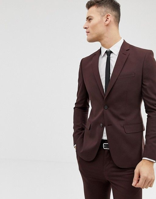 2b2d66fd8e9091 New Look skinny fit suit jacket in burgundy in 2019 | Ariella | Skinny fit  suits, Suit jacket, Jackets