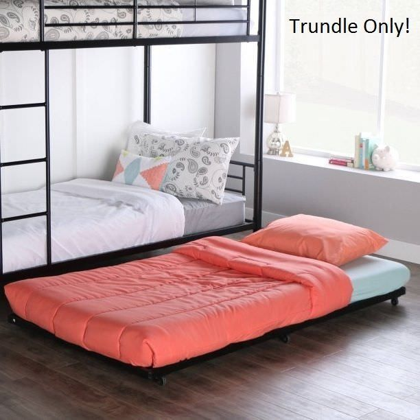 Trundle Bed Frame Twin Size Roll Out For Kids Bunk Beds Black