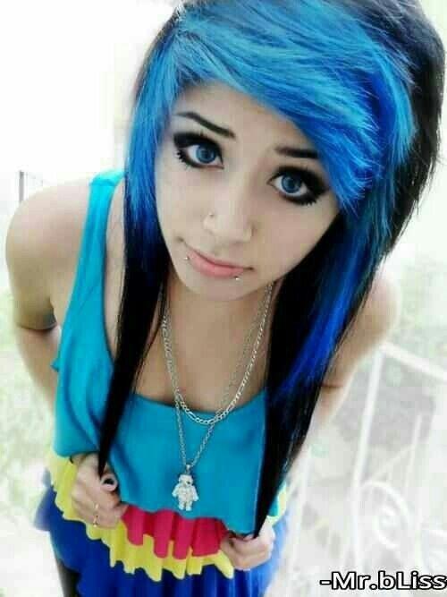 blue and black scene hair sceneemo hair pinterest