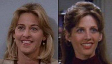 And here's yet another rare instance of celebrity clonage that involves younger versions of celebrities... in this case it's Ellen DeGeneres (L) and Tracy Nelson (R) once again... so maybe in a strange way Ellen is transitively related to Gillian Anderson via Doppelgängery clonage? ...Nah!