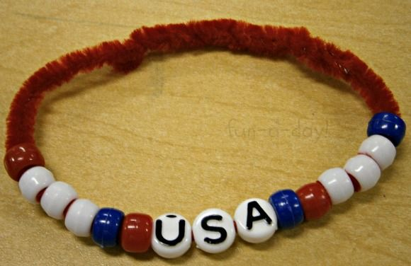 lots of great patriotic activities - bracelets, rockets, red/white/blue ice water table fun & more