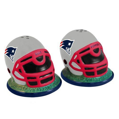 NFL New England Patriots Helmet Salt and Pepper Shakers by The Memory Company. $18.54. Hand-Painted. Official team helmet design. China. Made of Ceramic-Durable enough for everyday use. NFL New England Patriots Helmet Salt and Pepper Shakers