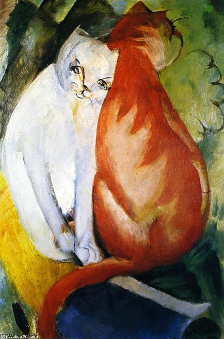 "Franz Marc - ""Cats, Red and White"", 1912 - Oil On Canvas (Private collection)"