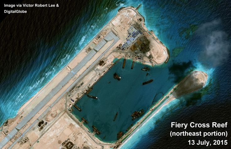 Fiery Cross Reef, South China Sea, close-up of harbor. Satellite image July 13, 2015. Via author Victor Robert Lee. https://medium.com/satellite-image-analysis/fiery-cross-reef-south-china-sea-satellite-image-update-81a29f5835a6