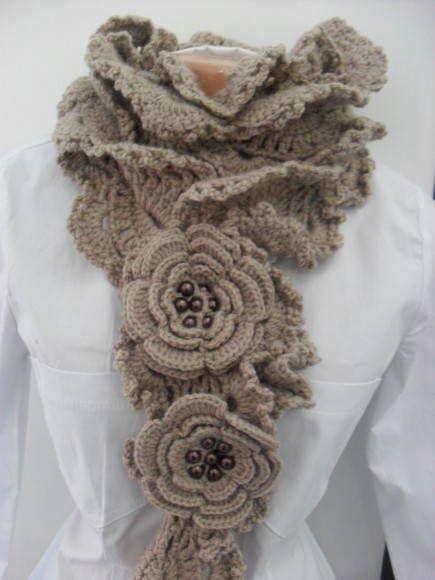 Cachecol de Crochê Babados Nude | Crochê e Artes da Rô by Rosangela Campos | Elo7