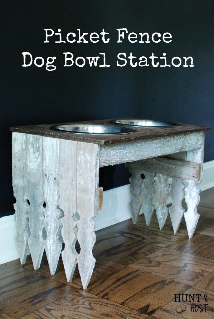 Picket Fence Dog Bowl Station: Use old fence pickets to make a gorgeous feeding station for your furry friend! www.huntandhost.net