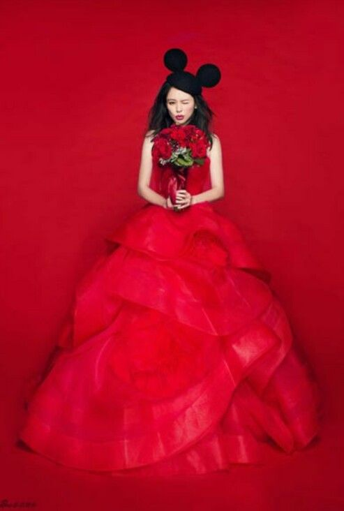Vivien hsu wedding shoot, love the red and mickey ears