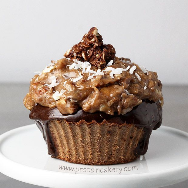 Prot: 27g, Carbs: 22g, Fat: 12g, Cal: 293       Chocolate whey protein cake topped with a chocolate (whey) ganache, coconut caramel pecan protein frosting, and a delicious Crispy Cluster!German Chocolate Protein Cupcakes!