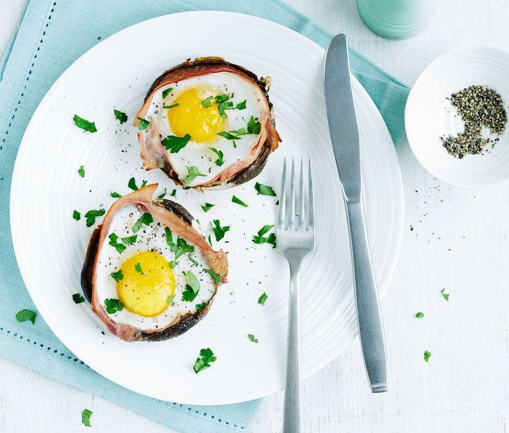 Baked eggs in Portobello mushrooms | Egg Recipes