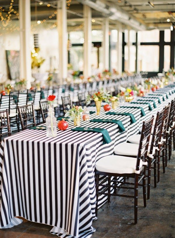 Love This Long Black And White Striped Table Cloth.