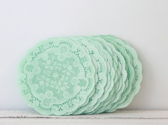 "Paper Doilies Mint Green 4""- French Lace Doilies - Mint Wedding Decoration, Vintage Wedding, Lace Doilies, Bridal Showers, Baby Shower on Etsy, $8.00"