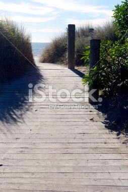 Boardwalk to the Beach, Tahunanui,NZ Royalty Free Stock Photo