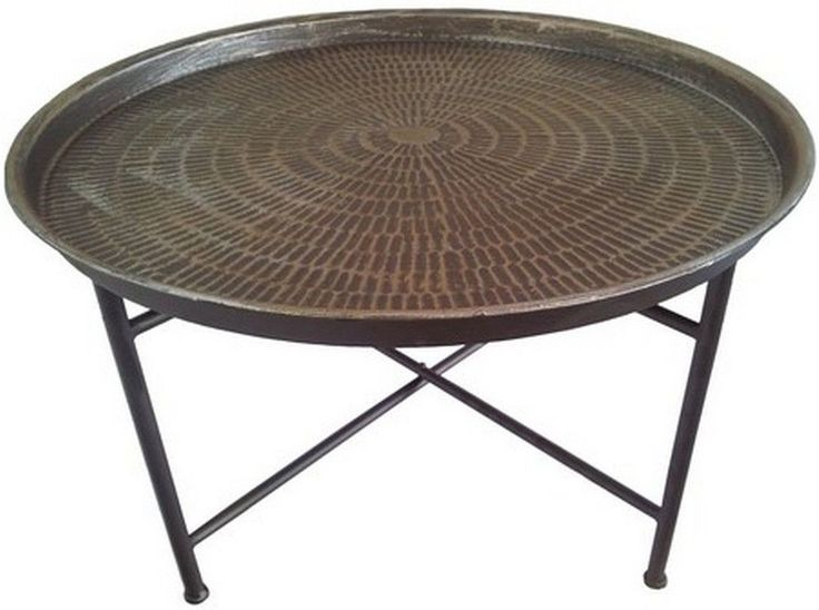 Hammered Metal Round Coffee Table (Coffee table)