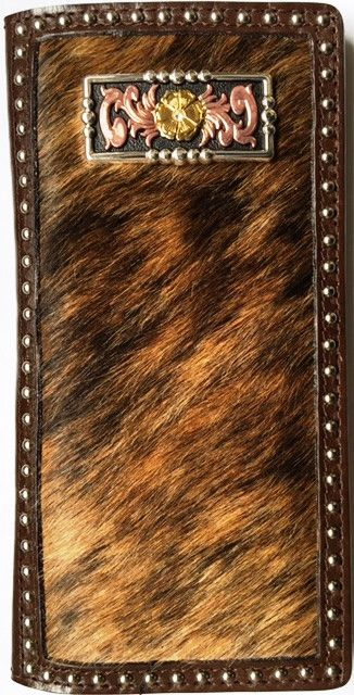 (WFAC492) Western Hair-On Rodeo Wallet with Tri-Color Concho