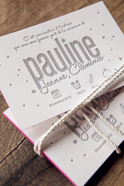 Faire-part de naissance impression letterpress gris clair sur papier coton 450g…