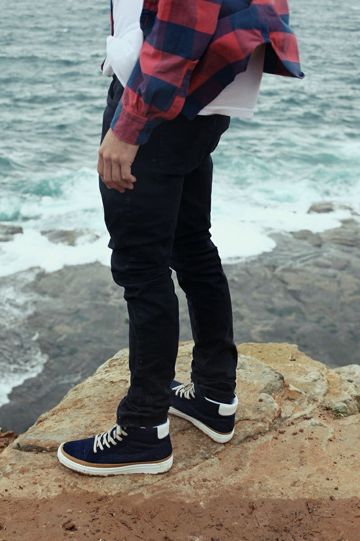 ::: HARLEM ::: Navy denim hightops. http://www.urgefootwear.com.au/mens-shoes-online/harlem-navy-denim