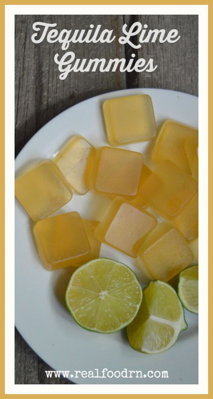 "Tequila Lime Gummies (adults only!). This recipe is my more ""grown-up"" version of the jello shots that we made back in our college days. Such an amazing lime flavor! Be careful not to eat them too fast. It's party time with these homemade gummies!  realfoodrn.com #homemadegummies #tequila"