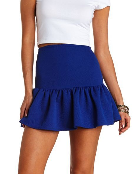 Geo-Quilted Fluted Skater Skirt: Charlotte Russe
