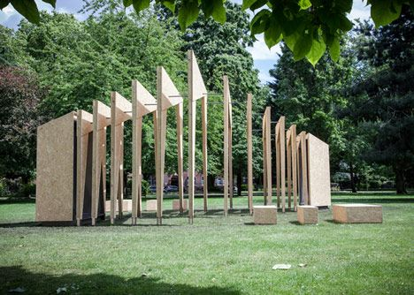 Visitors can stroll through free-standing wooden frames in this pavilion that IPT Architects has installed outside V&A Museum of Childhood in Bethnal Green. It is intended to proved an interactive space that visitors can either talk through or spend time inside. Made of OSB and untreated mild steel.