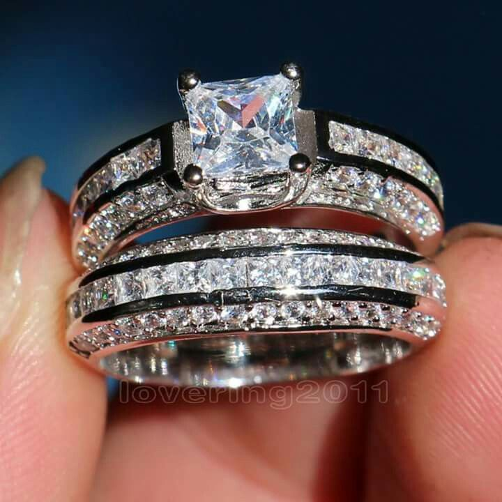 New What a beautiful engament ring u wedding band like seriously love it