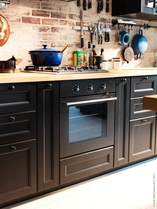 Ikea Rustic with METHOD in Laxarby black  Kitchens  Pinterest  Inspiration -> Armoire Fin Dépliable Cuisine Ikea
