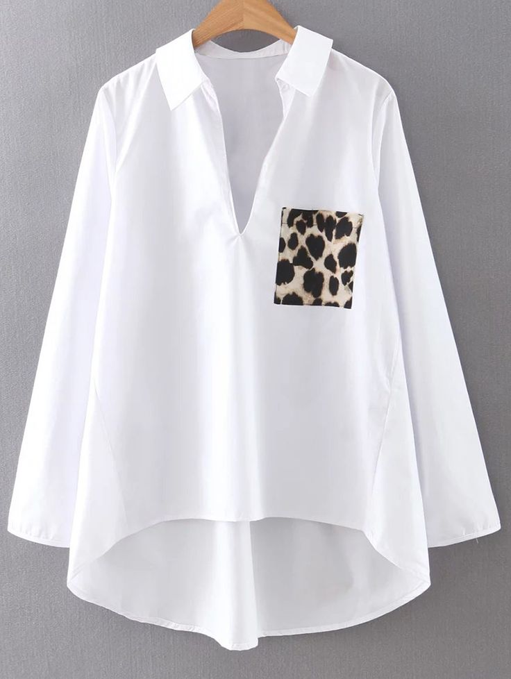 High-Low Leopard Print Shirt Collar Long Sleeve Shirt