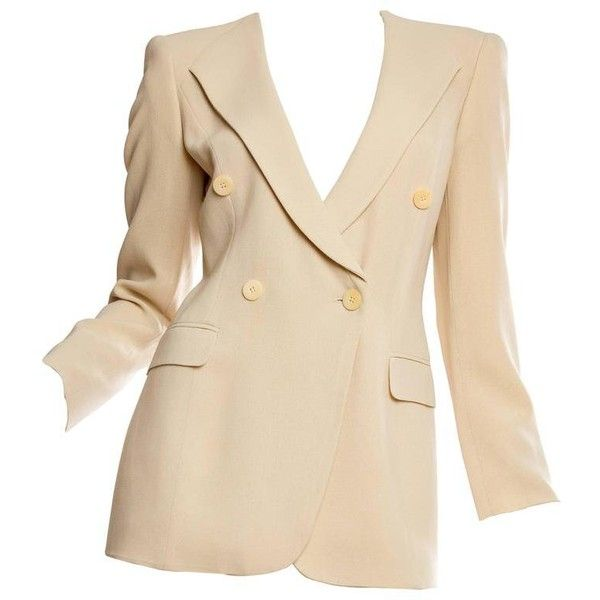 Preowned Giorgio Armani Minimalist Blazer ($650) ❤ liked on Polyvore featuring outerwear, jackets, blazers, beige, giorgio armani, blazer jacket, beige jacket, giorgio armani jacket and beige blazer