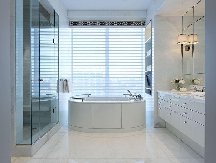 Sky high serenity in this luxury condo ensuite #interiordesign #masterensuite #elegance #modern #modernelegance #city #cityliving #luxury #luxurydesign #luxuryrealestate #douglasdesignstudio