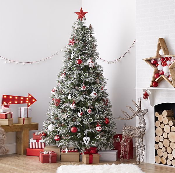 Give your Christmas tree a Scandi look by hanging decorations in berry reds, then adding a touch of frost. Choose stars, hearts and birds in wood and metal and mix them with everything from knitted decorations to polar bears – all available at Homebase.