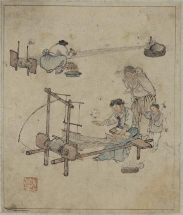 'Weaving(길쌈)' painted by Kim Hong-do(金弘道, 1745~1816 after) in the late 18th century.