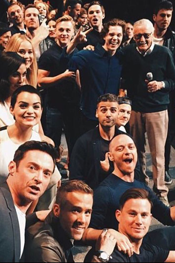 Members of the Marvel universe of characters - Hugh Jackman, Ryan Reynolds, Channing Tatum, James McAvoy, Tye Sheridan, Oscar Isaac, Brianna Hildebrand, Morena Baccarin, Jennifer Lawrence, Ben Hardy, Evan Peters, Stan Lee, Michael Fassbender, Nicolas Hoult, etc. at Comic-Con International 2015 at San Diego Convention Center in San Diego, CA. (July 11, 2015)