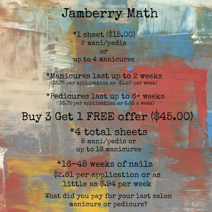 Think Jamberries are too expensive? Check out this Jamberry math! For more details and to order, check out my website! elliegriesse.jamberrynails.net