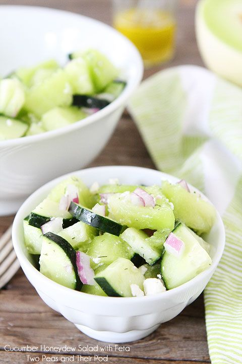 Cucumber Honeydew Salad with Feta on twopeasandtheirpod.com. Ingredients: lemon juice, olive oil, honey, s & p, honeydew, cucumber, red onion, dill weed, feta cheese