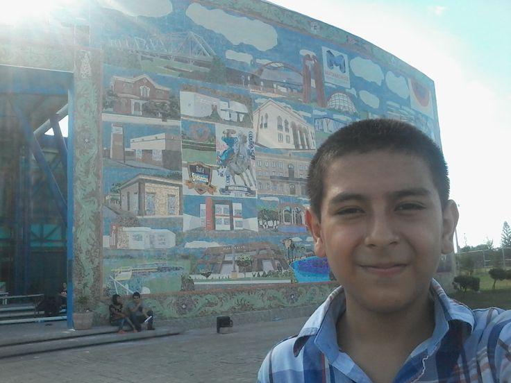 Mural ''La Flor del Tiempo'' ubicado al frente de la biblioteca  del Parque Olimpico.Hecho de pequeños mosaicos de colores