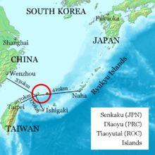 The Senkaku Islands (尖閣諸島 Senkaku-shotō?, variants: 尖閣群島 Senkaku-guntō[3] and 尖閣列島 Senkaku-rettō[4]), also known as the Diaoyu Islands (Chin...