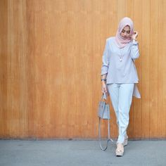 "1,255 Likes, 24 Comments - @nabilahatifa on Instagram: ""grey with a touch of soft pink. (Alaia top - new pattern Gael pants) @nrh.fornabilia"""