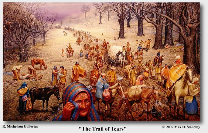 Indian Removal Act Andrew Jackson trail of tears - painting of trail | native american inspired